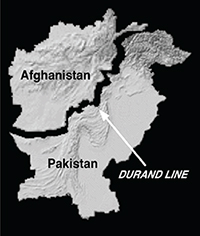 Middle East map Afghanistan Pakistan showing Durand Line